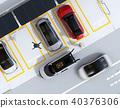 交付無人機的圖像從交付汽車的天花板飛行在交付下。最後一英里的概念 40376306