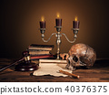 Still life art photography on human skull skeleton 40376375