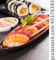 Delicious sushi salmon rolls 40376393
