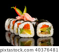 Sushi pieces on black background 40376481