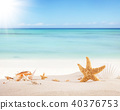 Sandy beach with blank paper for text 40376753
