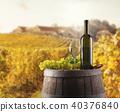 White wine bottle and glass on wodden keg 40376840