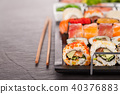 sushi, chopstick, plate 40376883