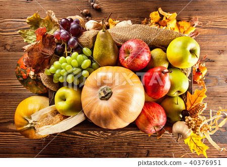Autumn agriculture products on wood 40376951