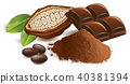 cacao beans with chocolate table and powder 40381394