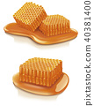 Set of illustrations honey combs 40381400