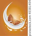 milk splash with almond nuts 40381404