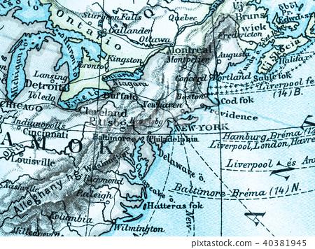 Old Map America East Coast - Stock Photo [40381945] - PIXTA