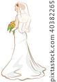 bride, back view, vector 40382265