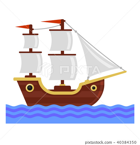 Cartoon Ship with White Sails. Flat Style Vector 40384350