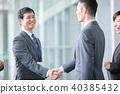 握手企業場面辦公室場面的商人 40385432