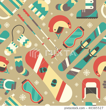 Winter Activity and Accessories Seamless Pattern 40385527