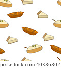 Fresh Pastry Flat Vector Seamless Pattern on White 40386802