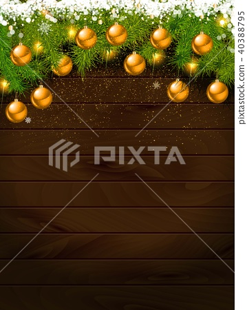 Christmas Decoration Over Wooden Background. 40388795