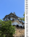 Hikone castle tower which shines in the blue sky 40388849