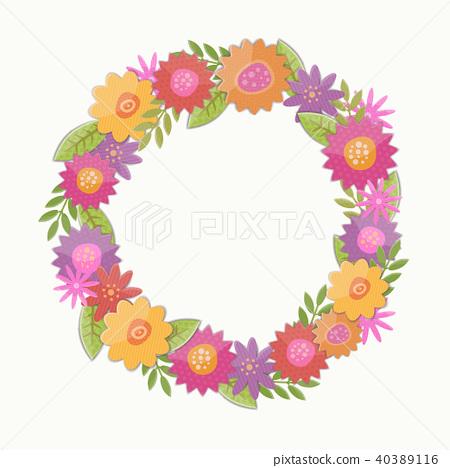 Vector meadow flowers vignette. 40389116