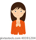An upper body illustration material of the young woman of uneasy expression 40391204