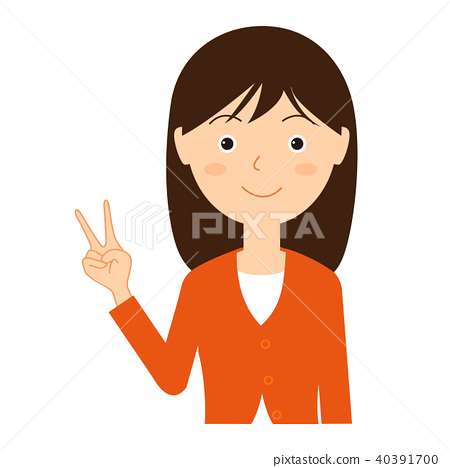 Peace sign young woman illustration material 40391700