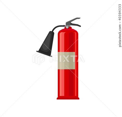 Flat vector icon of carbon dioxide CO2 fire extinguisher. Red steel cylinder with compressed gas 40394333