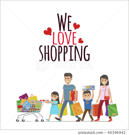 1fb0d7b76a112 We Love Shopping Flat Vector Concept with Family - Stock ...
