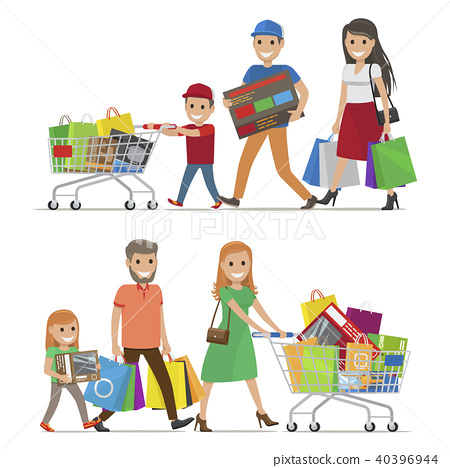 aa14ab357b315 Family Making Purchases in Supermarket Flat Vector - Stock ...