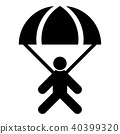 Parachute jumper icon black 40399320