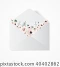 Flowers in envelope on the white background. 40402862