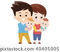 쌍둥이 아기와 아빠와 엄마 40405005