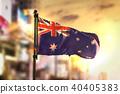 Australia Flag Against City Blurred Background 40405383
