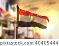 Egypt Flag Against City Blurred Background 40405444