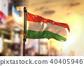 Hungary Flag Against City Blurred Background 40405946