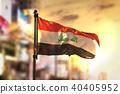 Iraq Flag Against City Blurred Background 40405952