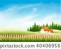 Summer nature landscape with village house, 40406956