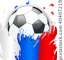 Russia Flag Colors with Soccer Ball, Football 40407219