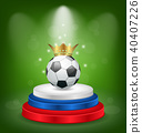 Football Ball with Golden Crown on Podium in National Colors of Flag Russia 40407226
