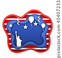 Fourth of July Independence Day of the USA, Statue of Liberty, Ballons, Confetti. Cut Paper Style 40407233