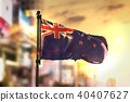 New Zealand Flag Against City Blurred Background 40407627
