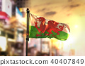 Wales Flag Against City Blurred Background 40407849