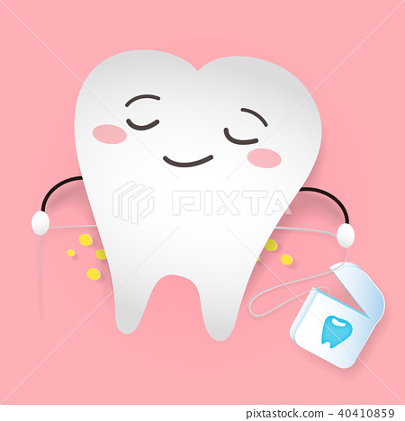 tooth with dental floss 40410859