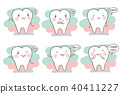 tooth with different emotion 40411227