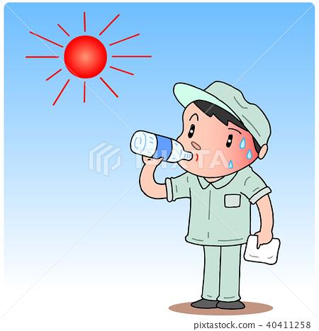 very hot day, summer day, heatstroke prevention 40411258