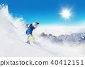 Skier on piste running downhill 40412151