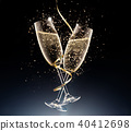 glasses of champagne on a black background. 40412698