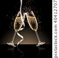 glasses of champagne on a black background. 40412707
