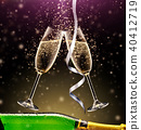 glasses of champagne with bottle on dark background 40412719