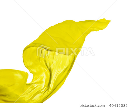 Smooth elegant yellow cloth on white background 40413083