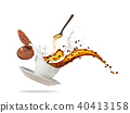 Porcelaine white cup with splashing coffee liquid and biscuits isolated on white background. 40413158
