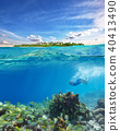 Young woman snorkeling and exploring corals 40413490