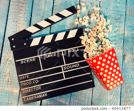 Film camera chalkboard with popcorn 40413877