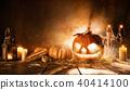 Scary halloween pumpkin on wooden planks 40414100